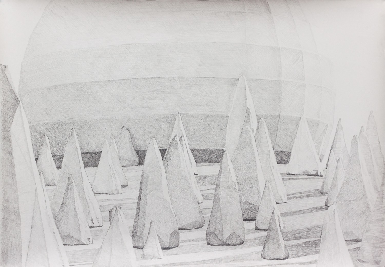 Breathing scape - graphite on paper, 108cm x 75,5cm