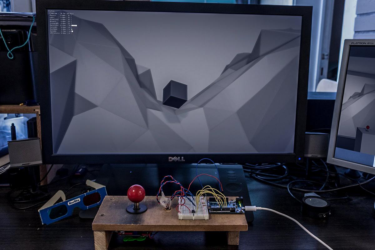 """The cube"" - testing joystick input with Arduino Leonardo"
