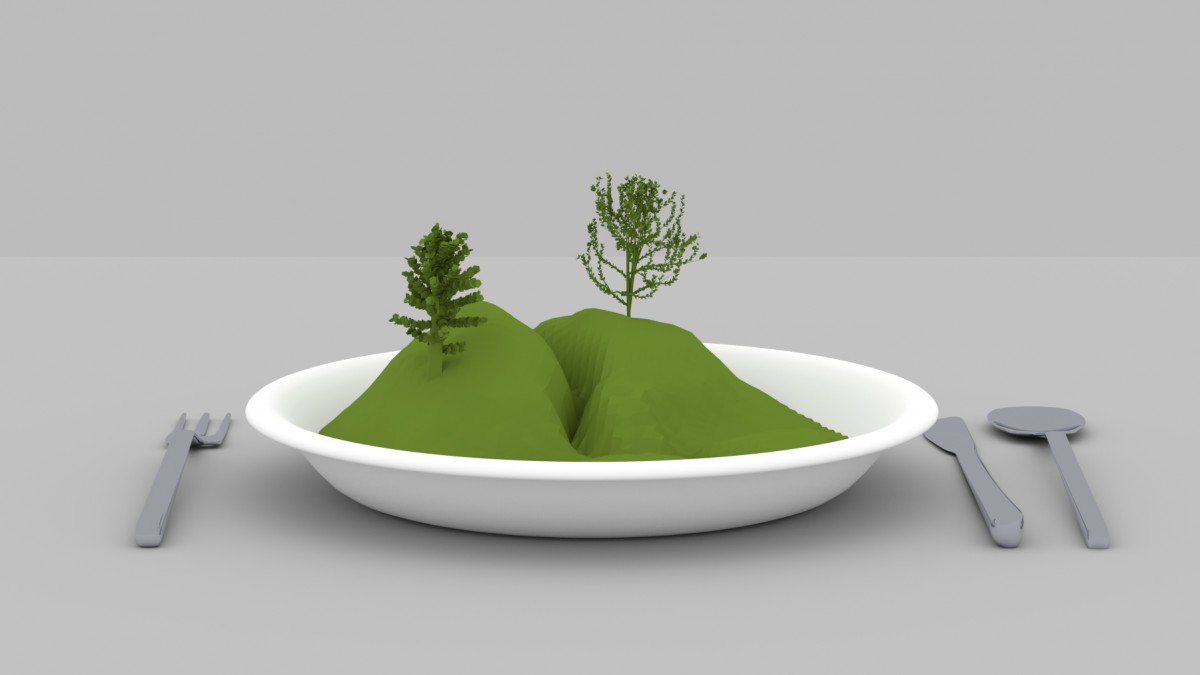 Landscape in a plate - 3D render