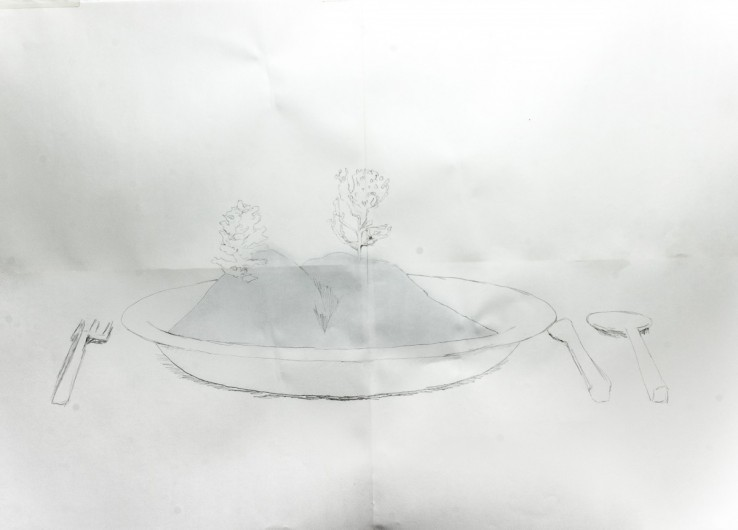 Landscape in a plate - Drawing / mixed media - 1189mm x 841mm
