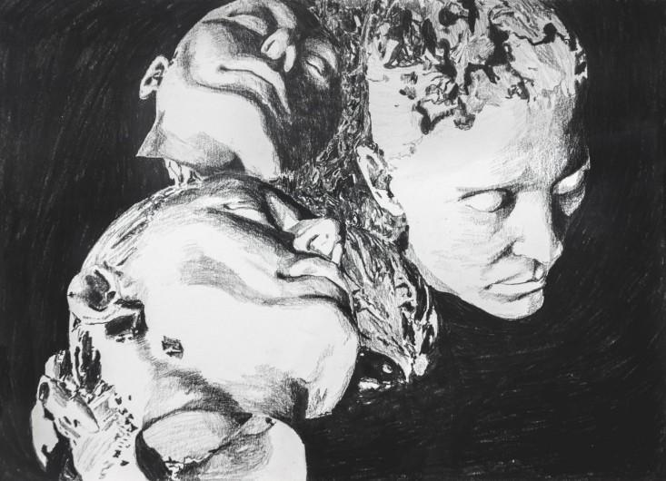 Selfportrait, Ibe - graphite pencil on paper, 41 x 29 cm, 2017