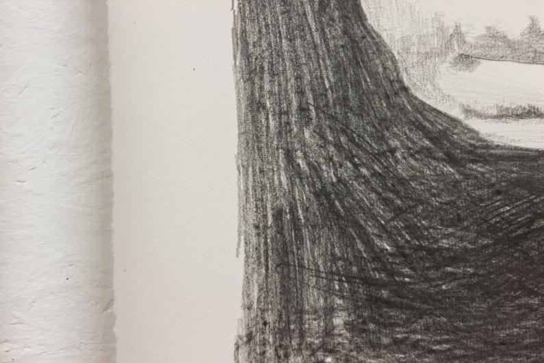 Hands holding a landscape - graphite on paper, detail