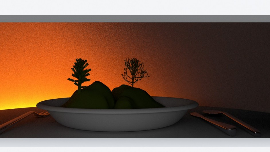 Landscape in a plate - diorama - LED lighting setup (sunrise) - 3D render