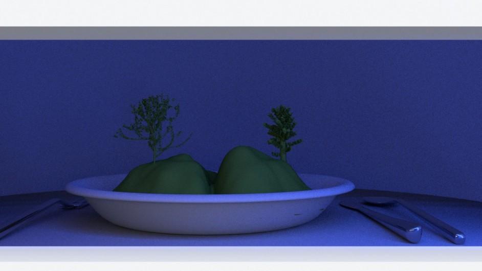 Landscape in a plate - diorama - LED lighting setup (evening) - 3D render