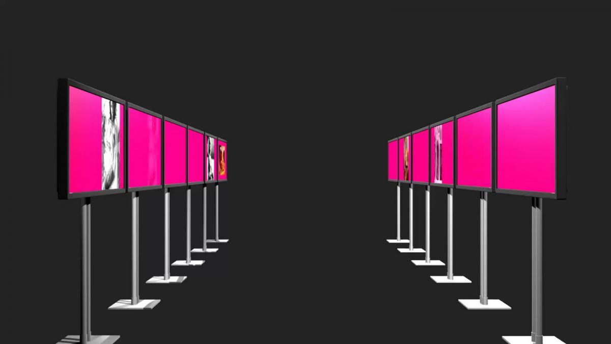 Tunnel der Lusten - installatie met 12 schermen - ontwerp